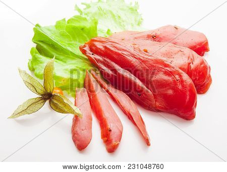 Pieces Of Smoked Chicken Meat