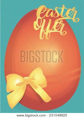 Easter Offer Advertising Banner With Colorful Eggs