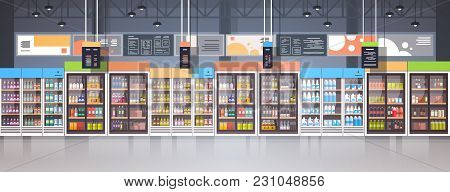 Supermarket Interior Retail Store With Assortment Of Grocery Food On Shelves Horizontal Banner Flat