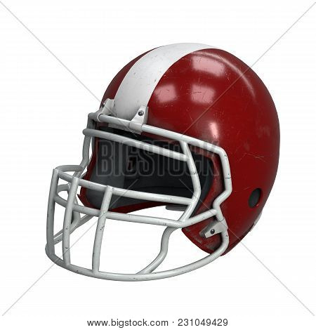 Old American Football Helmet. Red Helmet With Dirt And Scratches. Perspective View. Oldschool Used S