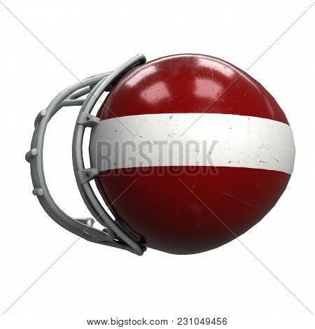 Old American Football Helmet. Red Helmet With Dirt And Scratches. Top View. Oldschool Used Sport Equ