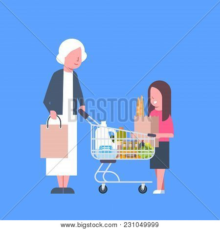 Girl With Grandmother Shopping Holding Paper Bag And Cart Full Of Grocery Products Flat Vector Illus