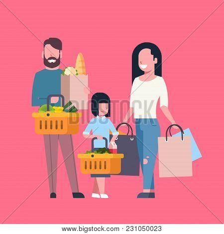 Young Family Shopping Holding Paper Bag And Basket Full Of Grocery Products Flat Vector Illustration