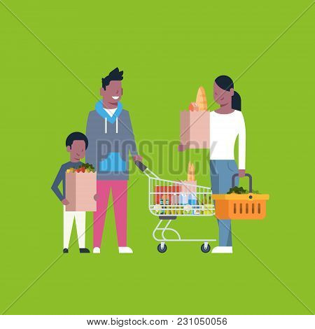 African American Family Shopping Holding Paper Bag, Trolley And Basket Full Of Grocery Products Flat
