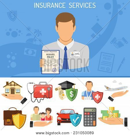 Insurance Services Concept. Insurer Holding In Hand Policy For Car, Medical, Travel And Family Insur