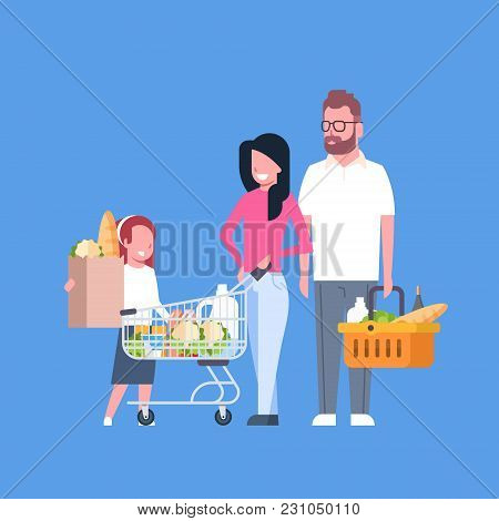 Young Family Shopping Holding Paper Bag, Cart And Basket Full Of Grocery Products Flat Vector Illust