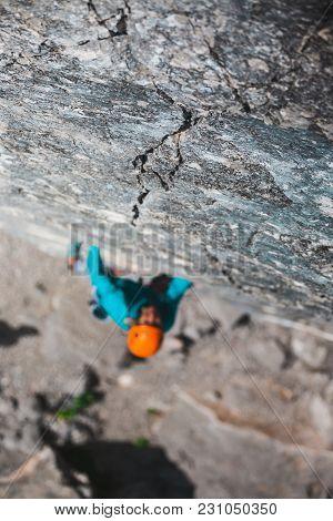 Rock-climber On A Rock.
