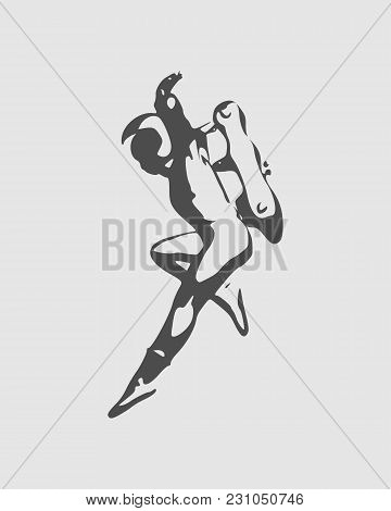 Jumping Astronaut In Spacesuit. Monochrome Silhouette. Fantastic Person
