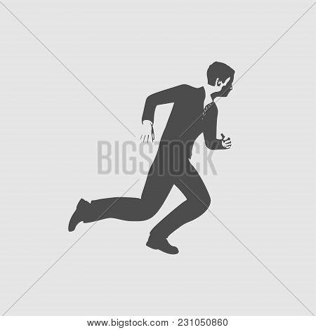 Businessman Running Forward. Abstract Illustration. Modern Lifestyle Metaphor