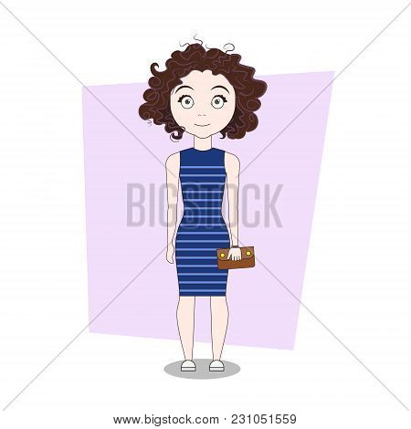 Cute Cartoon Girl In Stylish Dress Doodle Vector Illustration
