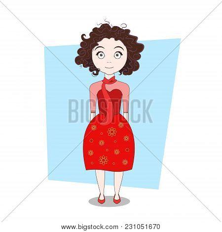 Curly Cartoon Hipster Girl In Modern Stylish Dress Vector Illustration