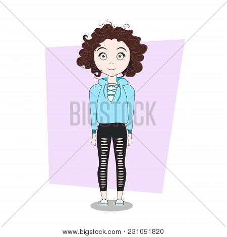 Cute Cartoon Hipster Girl In Modern Casual Clothes Vector Illustration