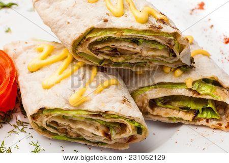 Rolls From Pita Bread Stuffed With Salad