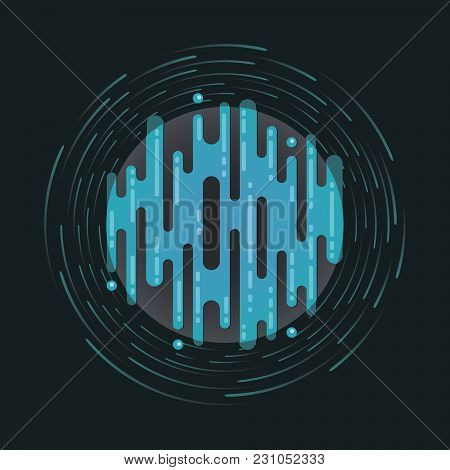 Vector Illustration Of Sci-fi Planet In Space. Abstract Digital Blue Planet Icon With Dribbles In Fl