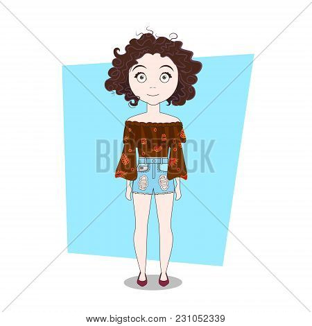 Cute Doodle Cartoon Curly Girl Wear Modern Hipster Clothes Vector Illustration
