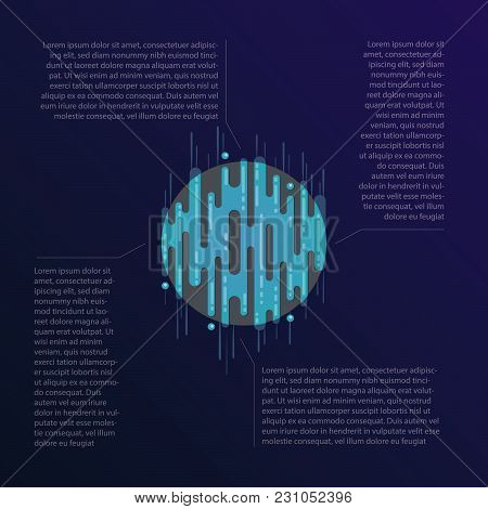 Vector Illustration Of Sci-fi Planet In Space With Text Blocks. Abstract Digital Blue Planet Icon Wi