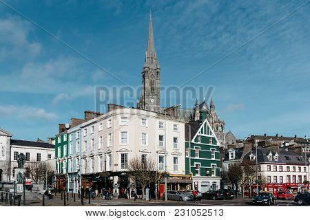 Cobh, Ireland - November 9, 2017: Picturesque View Of Promenade Of Small Irish Town With Traditional