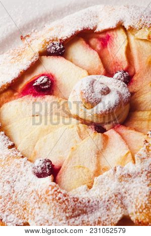 Pie With Cherry Isolated On White