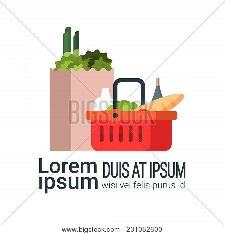 Grocery Products In Paper Bag And Shopping Basket Isolated On White Background With Copy Space Flat