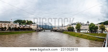 Salzburg, Austria - August 6, 2017: Scenic Panoramic View Of River In Salzburg. The Old Town Of Salz