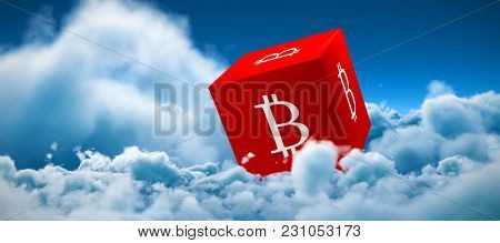 Cube with bit coin sign on each side digital currency against tranquil scene of overcast against sky