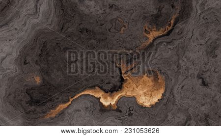 Texture Of Cuted Roots Of Tree With Wavy Lines And Age Rings. Golden Blot On A Dark Wooden Backgroun