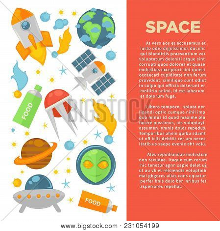 Space Commercial Banner With Planets And Cosmic Technologies. Modern Satellites, Powerful Spaceship,
