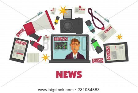 News Creation And Publication Modern Equipment Set. Open Laptop With Video On, Camera With Bright Fl