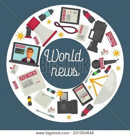 World News Promotional Poster. Big Loudspeaker, Open Laptop, Professional Video Camera, Modern Devic