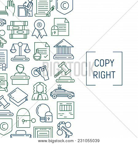 Vector Banner And Poster Linear Style Copyright Elements With Place For Text Illustration