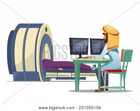 Vector Cartoon Arab Computer Tomography Ct Magnetic Resonance Imaging Mri Patient Scanning Concept.