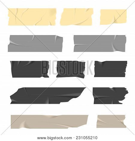 Scotch Tapes Inaccurately Stuck Of Light And Dark Colors. Stationery Product With Sticky Surface Att