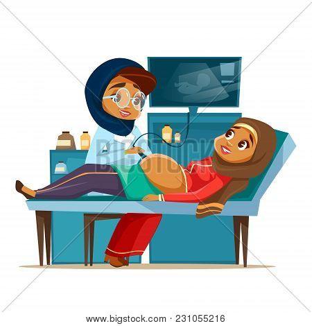 Vector Cartoon Arab Ultrasound Pregnancy Screening Concept. Muslim Khaliji Doctor Woman Medical Unif