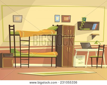 Vector Cartoon Student Dormitory Room Interior Background Template. University, High School College,