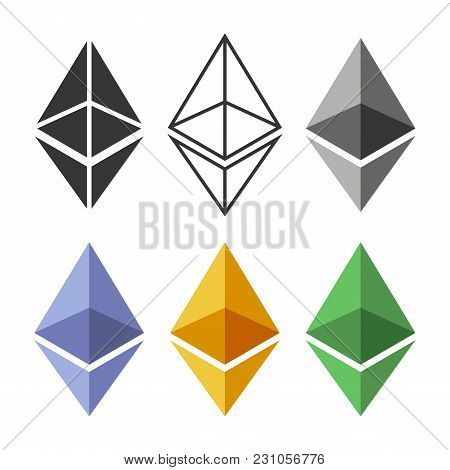 Ethereum Coin Sign Set. Crypto Currency Icon. Vector Illustration