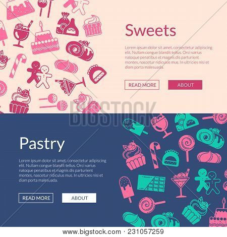 Vector Web Banner Template With Linear Style Sweets Icons Illustration