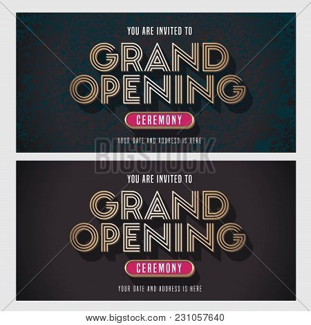 Grand Opening Vector Banner, Illustration, Invitation Card. Template Invite Design With Golden Sign