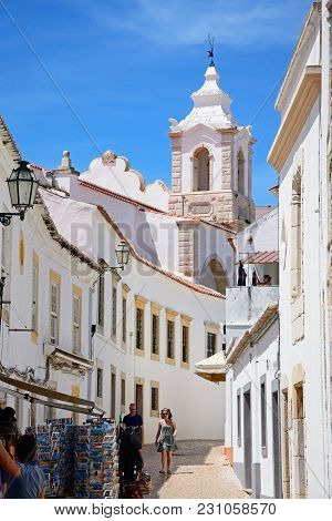 Lagos, Portugal - June 9, 2017 - View Along R Henrique Correia Da Silver Street Towards Santo Antoni