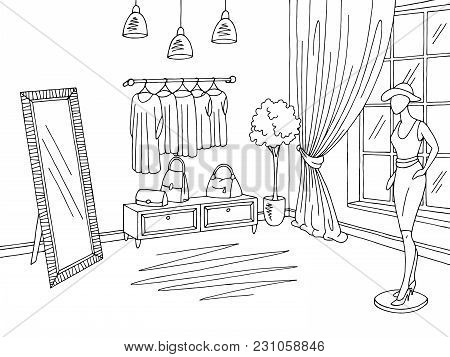 Shop Interior Graphic Black White Boutique Store Sketch Illustration Vector