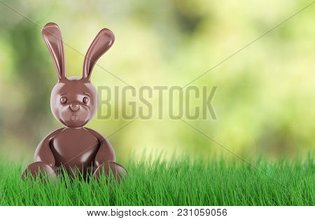 A Cute Chocolate Easter Bunny. 3d Rendering