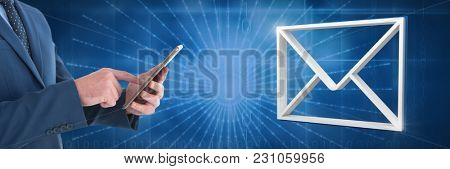 Digital composite of Hand holding tablet with 3D email message icon