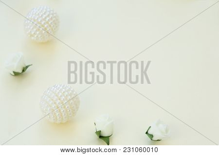 Styled Stock Photo. Feminine Wedding Desktop Mockup. White Roses And Beads On Delicate Blue Backgrou