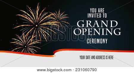 Grand Opening Vector Illustration, Background, Invitation Card With Firework And Scissors Cutting Re