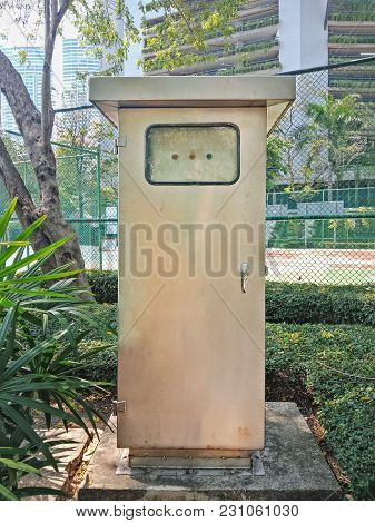 Front View, Electrical Metal Cabinet In Public Park
