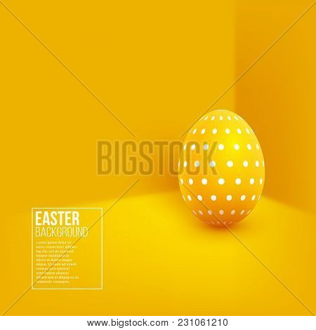 Abstract Easter Yellow Background. Decorative 3d Egg On Yellow Wall Background. Vector Illustration.