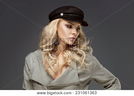 French Style Lady Posing In Black Beret.