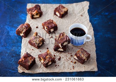 halva brownie with tahini and cup of coffee - sweet food