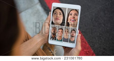People collage portrait 7 wide against cropped hands of man holding tablet