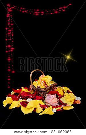 Assorted Roses Petals In A Wicker Basket