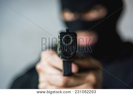 Masked Robber With Hand Gun Pointing Aiming, Robber Concept